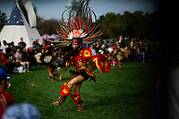NEW YORK, USA - October 13: An Indigenous descendible dances during a ceremony to gods on October 13, 2019 in New York, USA. Hundreds of indigenous gather together for demanding the stop killing of their people in Ecuador and more awareness of what we're doing with the planet. (Photo by Eduardo MunozALvarez/VIEWpress)