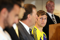Pictured: Ben Davies (R) at the press conference<br /> Re: Official launch of the 2013-2014 Swansea City Football Club kit launch, with sponsors Goldenway GWFX at the Liberty Stadium, Swansea, south Wales. Friday 28th of June 2013