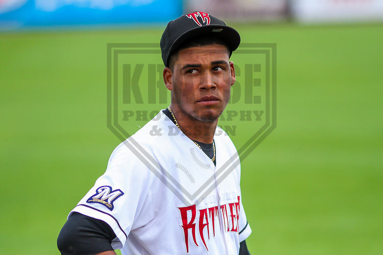 Wisconsin Timber Rattlers pitcher Miguel Sanchez (10) warms up prior to a Midwest League game against the Burlington Bees on July 10, 2017 at Fox Cities Stadium in Appleton, Wisconsin.  Burlington defeated Wisconsin 6-3. (Brad Krause/Krause Sports Photography)