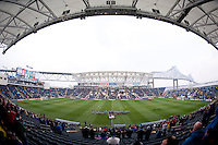 The teams line up before the game at PPL Park in Chester, PA.  The Philadelphia Union defeated the New England Revolution, 1-0.