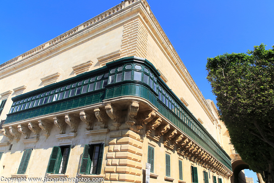 Balcony running along side of Grand Master's Palace building in Valletta, Malta