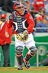 13 April 2008: Washington Nationals' catcher Johnny Estrada in action against the Atlanta Braves at Nationals Park, in Washington, DC. The Nationals ended their 9-game losing streak by defeating the Braves 5-4 in the last game of their 3-game series...Mandatory Photo Credit: Ed Wolfstein Photo