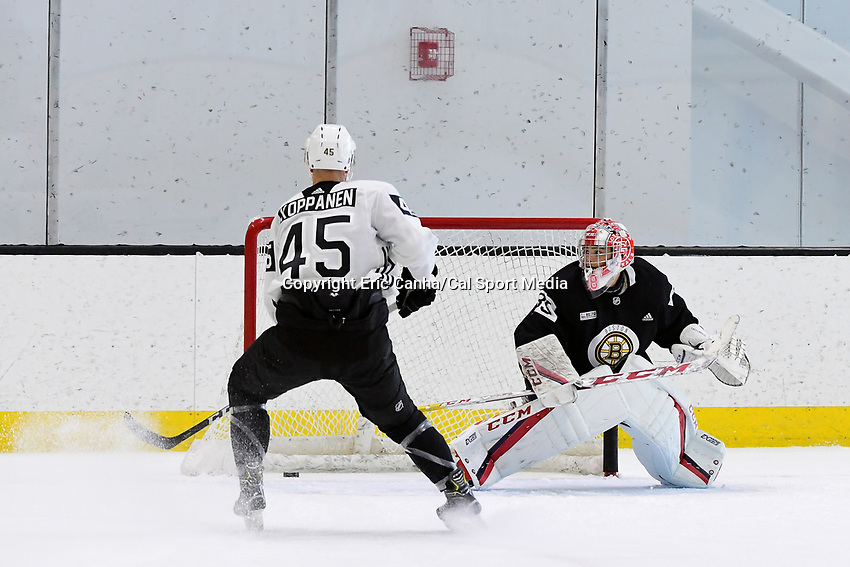 June 28, 2018: Boston Bruins forward Joona Koppanen (45) score a goal against goalie Kyle Kyser (85) during the Boston Bruins development camp held at Warrior Ice Arena in Brighton Mass. Eric Canha/CSM