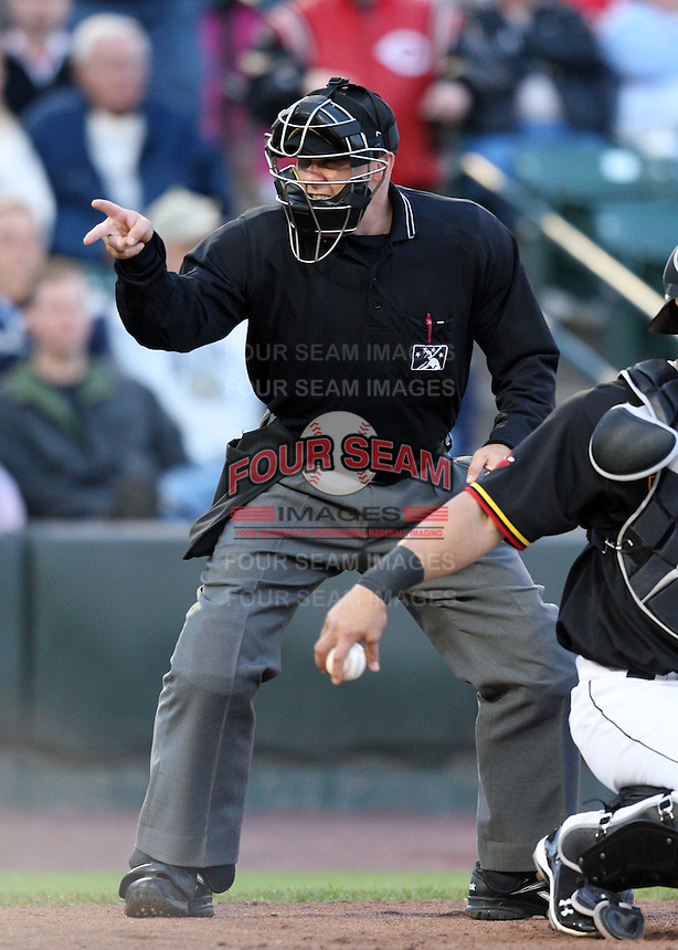 Home plate umpire Chris Bakke before a game between the Rochester Red Wings and Louisville Bats at Frontier Field in Rochester, New York;  May 31, 2010.   Rochester defeated Louisville 13-4.  Photo By Mike Janes/Four Seam Images