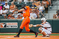 Oklahoma State Cowboys outfielder Conor Costello #24 swings the bat during the NCAA baseball game against the Texas Longhorns on April 26, 2014 at UFCU Disch–Falk Field in Austin, Texas. The Cowboys defeated the Longhorns 2-1. (Andrew Woolley/Four Seam Images)