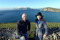 Marc Gysling and Deirdre McGlone, owners of Harvey's Point Hotel in Donegal pictured at Dun Chaoin overlooking Coomeenole Strand and The Blasket Islands in West Kerry during a fact finding tour of Slea Head as part of the National Tourism Forum which took place in Killarney at the weekend. Over 200 delegates from all over Ireland attend the inaugural event which was addressed by national and international speakers.<br /> Photo: Don MacMonagle<br /> <br /> Repro free photo