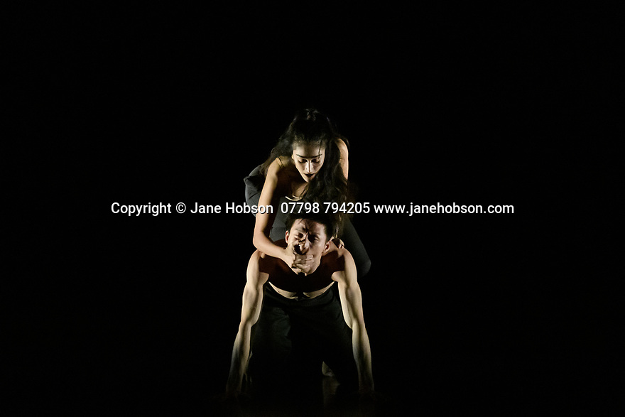 "Rambert2 presents ""Sin"", at Sadler's Wells theatre, choreographed by Sidi Larbi Cherkaoui and Damien Jalet, with lighting design by Adam Carree and costume design by Alexandra Gilbert. Picture shows: Melody Tamiz and Chen Peng."