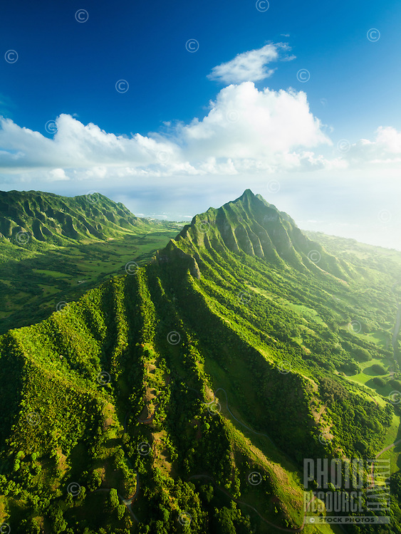 An aerial view of the Kualoa area, with Ka'a'awa Valley on the left, Windward O'ahu.