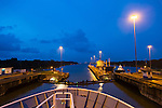 Transiting the Panama Canal at dusk, Panama
