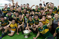 17-1-2017: The Kerry Minor team with David Clifford as captain and Peter Keane as Bainisteoir,  celebrate their four-in-a-row victories in the All-Ireland Minor Football final at Croke Park on Sunday.<br /> Photo: Don MacMonagle