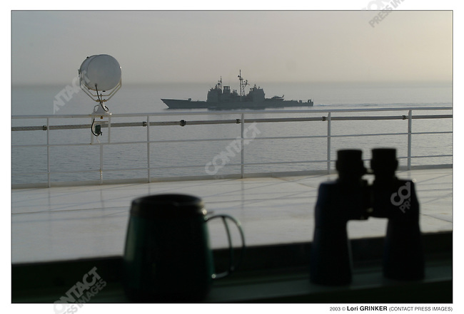 """Veiw of another ship from the """"bridge."""".The mariners (who run the Comfort) felt that this ship was a little too close. USNS COMFORT Naval hospital ship in the Persian Gulf."""