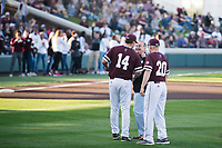 Super Bulldog Weekend: Baseball vs Arkansas at Dudy Noble Field. Women's Basketball Coach Schaeffer throws the first pitch.<br />  (photo by Megan Bean / &copy; Mississippi State University)