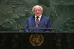 General Assembly Seventy-fourth session, 5th plenary meeting<br /> <br /> His Excellency Michael Higgins, President, Ireland
