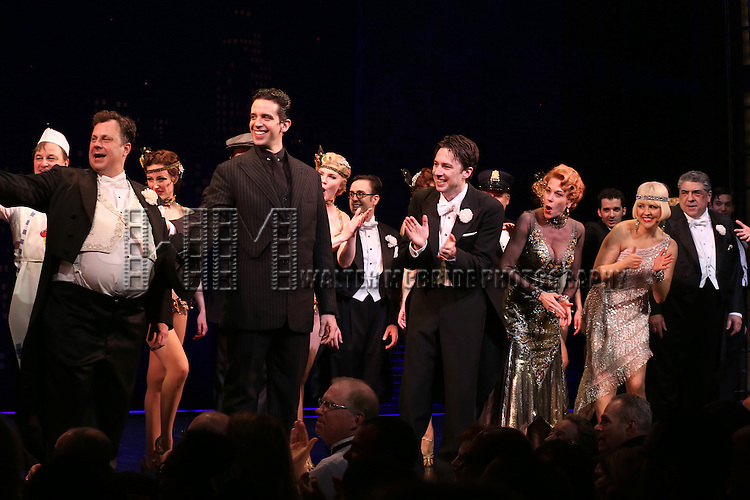 "Brooks Ashmanskas, Nick Cordero, Zach Braff, Marin Mazzie, Helene Yorke and Vincent Pastore during the Broadway Opening Night Performance Curtain Call for ''Bullets Over Broadway'""at the St. James Theatre on April 10, 2014 in New York City."