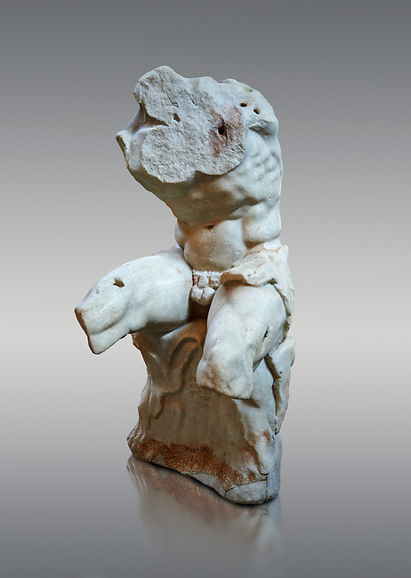 The celebrated Greek statue known as 'The Belvedere Torso', possibly of Greek hero Ajax, signed by Athenian neo-Attic sculptor Apollonios, ist century BC, inv 1192, Pope Clement collection, Vatican Museum Rome, Italy,  grey  background