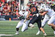 College Park, MD - November 3, 2018:  Michigan State Spartans running back La'Darius Jefferson (15) tries to avoid Maryland Terrapins linebacker Tre Watson (33) tackle during the game between Michigan St. and Maryland at  Capital One Field at Maryland Stadium in College Park, MD.  (Photo by Elliott Brown/Media Images International)