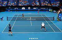 5th January 2020; RAC Arena, Perth, Western Australia; ATP Cup Australia, Perth, Day 3; Italy versus Norway; Christian Ruud Captain of Norway serves during the doubles against team Italy - Editorial Use