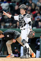 Catcher Taylor Hunter (38) of the South Carolina Gamecocks in the Reedy River Rivalry game against the Clemson Tigers on Saturday, February 28, 2015, at Fluor Field at the West End in Greenville, South Carolina. South Carolina won, 4-1. (Tom Priddy/Four Seam Images)