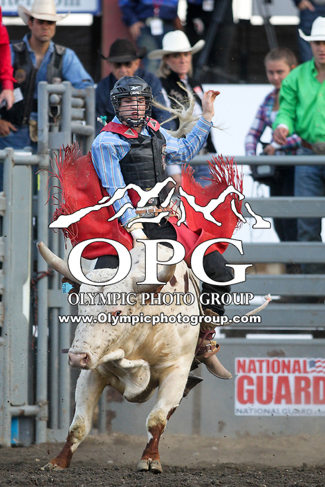 20 Aug 2014:  Chase Robbins scored a 77 in the first round of the Seminole Hard Rock Extreme Bulls competition at the Kitsap County Stampede in Bremerton, Washington.
