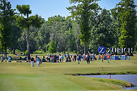Shane Lowry (IRL) and Padraig Harrington (IRL) lead the group down 17 during Round 1 of the Zurich Classic of New Orl, TPC Louisiana, Avondale, Louisiana, USA. 4/26/2018.<br /> Picture: Golffile | Ken Murray<br /> <br /> <br /> All photo usage must carry mandatory copyright credit (&copy; Golffile | Ken Murray)