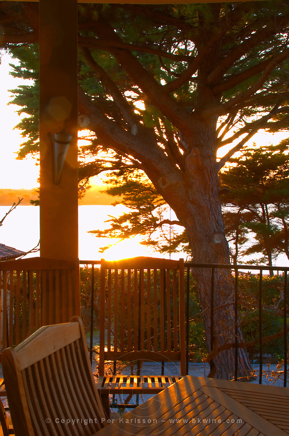 A view at sunset through the trees over the bay towards the island St Pierre des Embiez, garden furniture in teak wood on the terrace, sun shining through the tree branches Clos des Iles Le Brusc Six Fours Cote d'Azur Var France