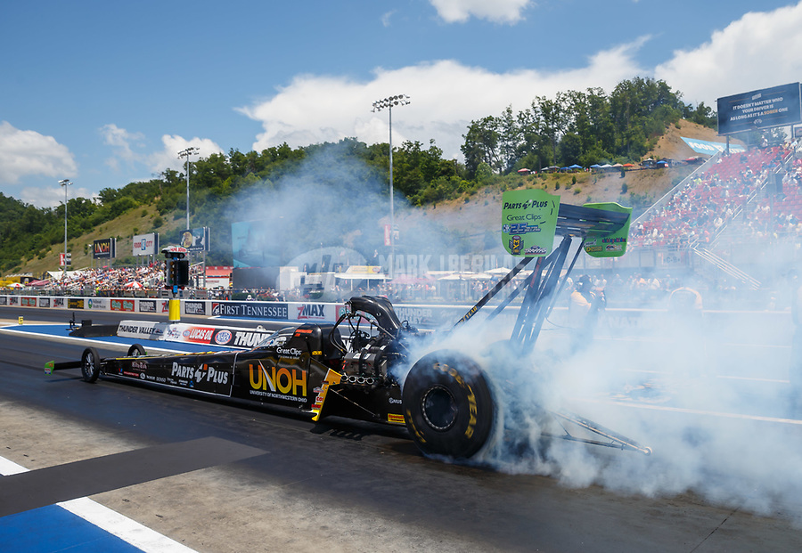 Jun 18, 2017; Bristol, TN, USA; NHRA top fuel driver Clay Millican during the Thunder Valley Nationals at Bristol Dragway. Mandatory Credit: Mark J. Rebilas-USA TODAY Sports