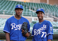 Robinson Yambati (L), Yordano Ventura (R) - AZL Royals.Photo by:  Bill Mitchell/Four Seam Images..