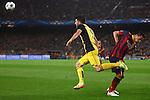 UEFA Champions League 2013/2014.<br /> Quarter-finals 1st leg.<br /> FC Barcelona vs Club Atletico de Madrid: 1-1.<br /> David Villa vs Xavi Hernandez.