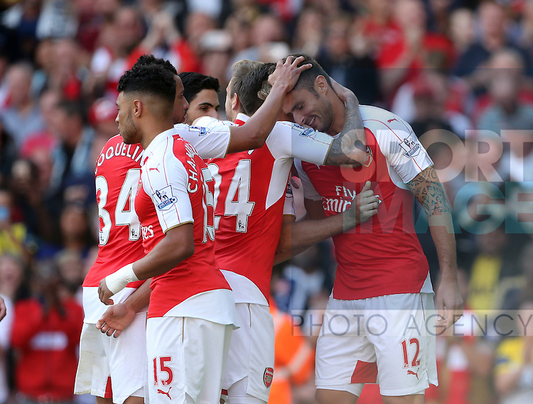 Arsenal's Olivier Giroud celebrates scoring his sides second goal<br /> <br /> Barclays Premier League- Arsenal vs Stoke City - Emirates Stadium - England - 12th September 2015 - Picture David Klein/Sportimage