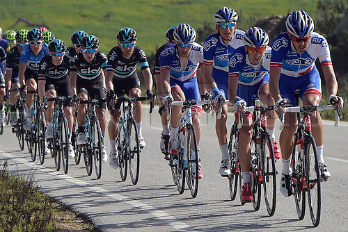 21.02.2016. Almodovor, Algarve, Portugal.  Team  FDJ in action during stage 5 of the 42nd Tour of Algarve cycling race with start in Almodovar and finish in Malhao (Loule) on February 21, 2016 in Malhao, Portugal.
