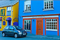 Street scene of traditional brightly coloured properties in Kinsale, County Cork, Ireland