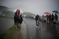 a Bora-Argon18 rider in  the treacherous descent off the Col de Joux Plane (HC/1691m/11.6km/8.5%) towards the finish in Morzine<br /> <br /> Stage 20: Megève › Morzine (146.5km)<br /> 103rd Tour de France 2016