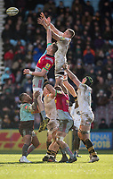Wasps' Kearnan Myall claims a line out<br /> <br /> Photographer Bob Bradford/CameraSport<br /> <br /> Aviva Premiership Round 14 - Harlequins v Wasps - Sunday 11th February 2018 - Twickenham Stoop - London<br /> <br /> World Copyright &copy; 2018 CameraSport. All rights reserved. 43 Linden Ave. Countesthorpe. Leicester. England. LE8 5PG - Tel: +44 (0) 116 277 4147 - admin@camerasport.com - www.camerasport.com