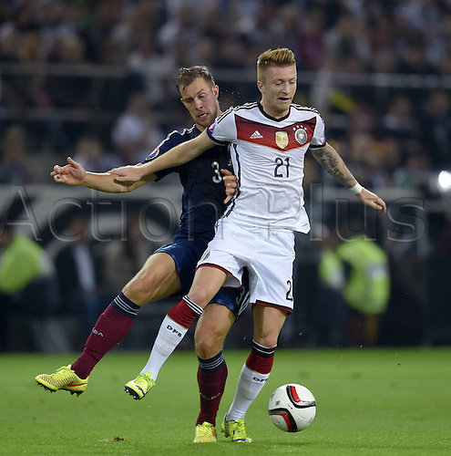 07.09.2014. Dortmund, Germany.   international match Germany Scotland  in Signal Iduna Park in Dortmund. Steven Whittaker (Sco) challenges Marco Reus (Ger).