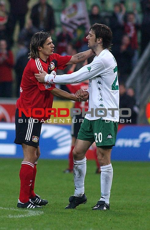 BL 2002/2003 -23. Spieltag<br />Bayer Leverkusen vsWerder Bremen<br />Zivkovic ( Leverkusen) und Krstajic von Bremen<br />Foto &copy; nordphoto <br /><br />n. *** Local Caption *** Foto ist honorarpflichtig! zzgl. gesetzl. MwSt.<br /> Belegexemplar erforderlich<br />Adresse: nordphoto<br />Georg-Reinke-Strasse 1<br />49377 Vechta
