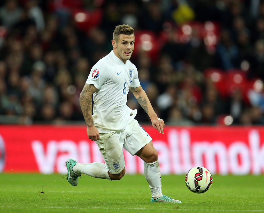 England's Jack Wilshire   in action during todays match  <br /> Photographer Kieran Glavin/CameraSport<br /> <br /> International Football - UEFA EURO 2016 - European Qualifiers Group E - England v San Marino - Thursday 9th October 2014 - Wembley Stadium - London <br /> <br /> &copy; CameraSport - 43 Linden Ave. Countesthorpe. Leicester. England. LE8 5PG - Tel: +44 (0) 116 277 4147 - admin@camerasport.com - www.camerasport.com