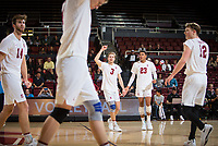 STANFORD, CA - January 17, 2019: Kyler Presho, Eric Beatty, Paul Bischoff, Jaylen Jasper, Jordan Ewert at Maples Pavilion. The Stanford Cardinal defeated UC Irvine 27-25, 17-25, 25-22, and 27-25.
