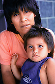 Altamira, Brazil. Arara Indian woman and child at the Casa do Indio FUNAI house.