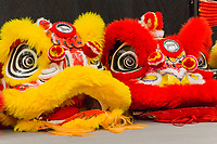 A pair of Dragon Heads waiting to dance for the 2018 Lunar New Year - celebrating The Year of the Dog at the San Leandro Library.  Performers included:  Vovinam San Jose, Chung Ngai Dance Troupe and EGO Korean Drummers.