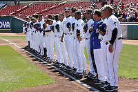 April 14, 2010:  The Buffalo Bisons line up for the national anthem before the opening home game vs. Pawtucket at Coca-Cola Field in Buffalo, New York.  The Bisons are the Triple-A International League affiliate of the New York Mets.  Photo By Mike Janes/Four Seam Images