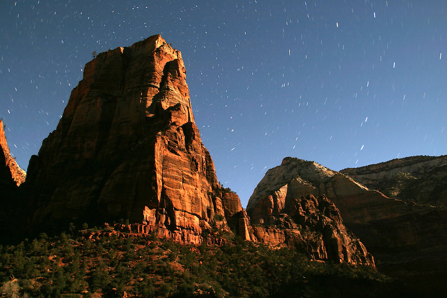 Star trails above Angels Landing lit by moon, Zion National Park, Washington County, UT