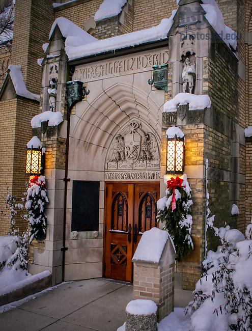 Basilica in Winter, God, Country, Notre Dame door.