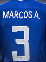 The Shirt of Marcos Alonso of Chelsea during the Carabao Cup semi final 1st leg match between Chelsea and Arsenal at Stamford Bridge, London, England on 10 January 2018. Photo by Andy Rowland.