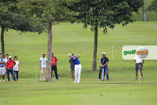 Ross Fisher (Europe) on the 1st fairway during the Singles Matches of the Eurasia Cup at Glenmarie Golf and Country Club on the Sunday 14th January 2018.<br /> Picture:  Thos Caffrey / www.golffile.ie