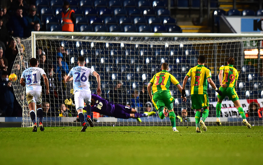 West Bromwich Albion's Jay Rodriguez scores his side's first goal  <br /> <br /> Photographer Richard Martin-Roberts/CameraSport<br /> <br /> The EFL Sky Bet Championship - Blackburn Rovers v West Bromwich Albion - Tuesday 1st January 2019 - Ewood Park - Blackburn<br /> <br /> World Copyright © 2019 CameraSport. All rights reserved. 43 Linden Ave. Countesthorpe. Leicester. England. LE8 5PG - Tel: +44 (0) 116 277 4147 - admin@camerasport.com - www.camerasport.com