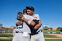 Salt River Rafters Royce Lewis (9) celebrates with Luis Ramirez (19), both of the Minnesota Twins organization, celebrate after winning the Arizona Fall League Championship Game against the Surprise Saguaros on October 26, 2019 at Salt River Fields at Talking Stick in Scottsdale, Arizona. The Rafters defeated the Saguaros 5-1. (Zachary Lucy/Four Seam Images)