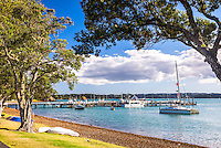 Sailing boats in Russell Harbour, Bay of Islands, Northland Region, North Island, New Zealand