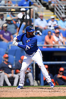 Toronto Blue Jays infielder Chris Colabello (15) during a Spring Training game against the Houston Astros on March 9, 2015 at Florida Auto Exchange Stadium in Dunedin, Florida.  Houston defeated Toronto 1-0.  (Mike Janes/Four Seam Images)