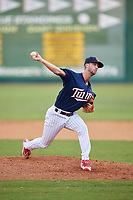 Elizabethton Twins relief pitcher Austin Schulfer (16) delivers a pitch during a game against the Bristol Pirates on July 29, 2018 at Joe O'Brien Field in Elizabethton, Tennessee.  Bristol defeated Elizabethton 7-4.  (Mike Janes/Four Seam Images)