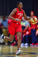 Washington, DC - August 31, 2018: Washington Mystics guard Ariel Atkins (7) brings the ball up court during semi finals playoff game between Atlanta Dream and Wasington Mystics at the Charles Smith Center at George Washington University in Washington, DC. (Photo by Phil Peters/Media Images International)